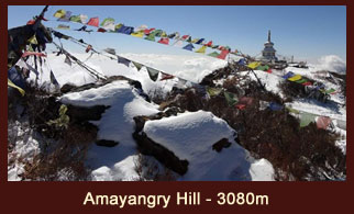 Amayangry Hill (3080m), a vantage point in the Langtang region of Nepal that offers fantastic views of the Langtang Lirung (7234m) and Mt. Kanchenjunga (8586m).