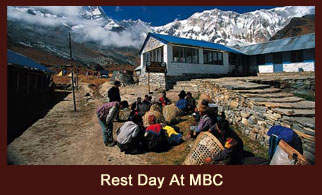 A glimpse of a typical rest day at Machhapuchhre Base Camp in the Annapurna region of Nepal.