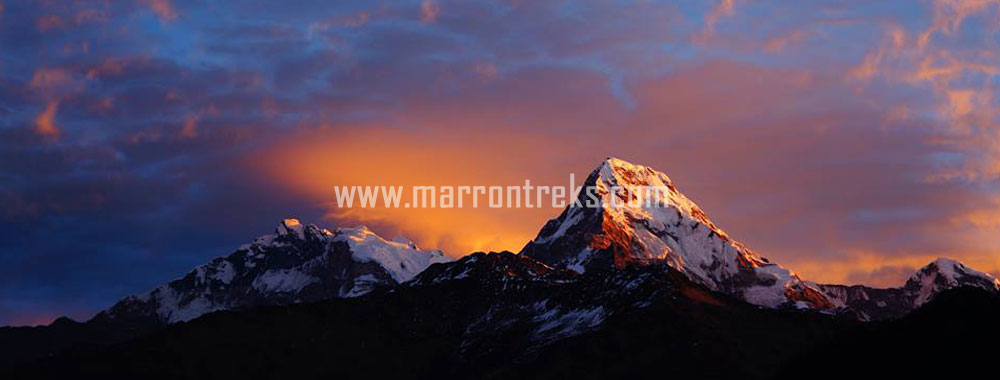A soothing view of the Annapurna South and Him Chuli in the Annapurna region, Nepal.