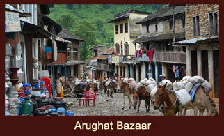 Arughat, a prominent settlement in the Annapurna region of Nepal.