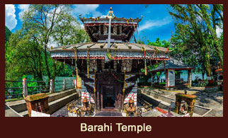 Barahi Temple, a small Hindu shrine in Pokhara, Nepal, built in pagoda style and devoted to Hindu deity