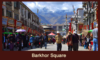 Barkhor Square, a busy juncture in the city of Lhasa in Tibet, dotted with plenty of souvenir stores.