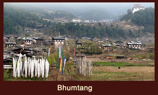 Bhumtang the traditional home to the great Buddhist teacher Pema Linga in Bhutan.