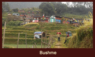 Bushme, a small settlement in the Annapurna region of Nepal, dominated by the people of