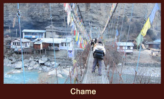 Chame, a bustling settlement in the Annapurna region of Nepal, famous for its hot spring.