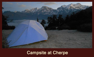 Cherpe, a campsite in the Annapurna region of Nepal, regarded as a vantage point for witnessing wonderful mountain vistas including the Annapurna range.