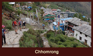 Chhomrong, a village tucked at base of Mt. Himal Chuli, which is the gateway to Annapurna Sanctuary Trek in the Annapurna region of Nepal.