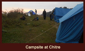 Chitre, a campsite in the Annapurna region of Nepal, that offers wonderful views of Mt. Manasalu, Pissang Peak and the Annapurna region.