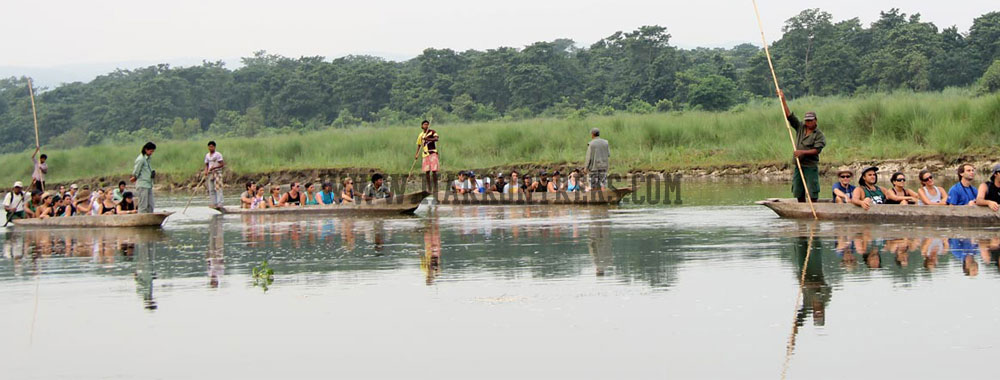Soothing canoe ride at the Chitwan National Park in Nepal.