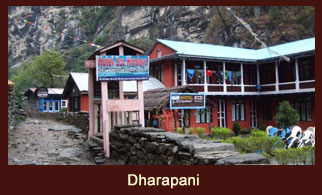 Dharapani, a famous settlement in the Annapurna region of Nepal.