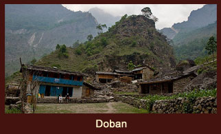 Doban, a small settlement in the Annapurna region of Nepal.