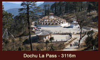 Dochu La Pass (3116m), in Bhutan is dramatically hemmed by 108 small chortens.