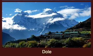 Dole, beautifully poised village close to the Phune river in the Everest region of Nepal.
