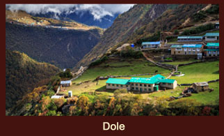 Dole, beautifully poised village close to the Phune river in the Everest region of Nepal.'