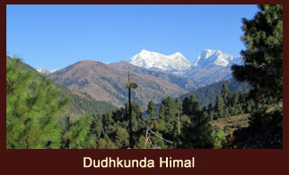 Awesome view of Mt. Dudh Kunda from the village of Saharbeni in the Everest region of Nepal.