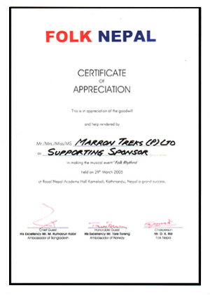 A certificate of appreciation offered to Marron Treks Pvt. Ltd. by Folk Nepal, for the sponsorship of the program.