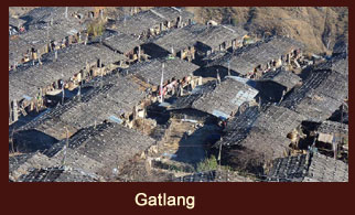 Gatlang, a small village, set high on the hillside among terraced fields, characterized by unique stone houses in the Langtang region of Nepal.