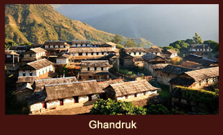 Ghandruk, a busy settlement in the Annapurna region of Nepal, mainly dwelt by the people of