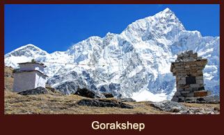 Gorak Shep or Gorakshep is a frozen lakebed covered with sand in the Everest region of Nepal.