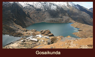 Gosaikunda Lake, we can actually witness a chain of three lakes, viz. Saraswatikunda, Bhairabkunda and Gosaikunda itself.