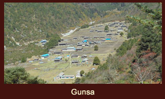 Gunsa, a typical Tibetan themed village in the Kanchenjunga region of Nepal.