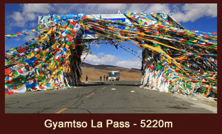Gyamtso La Pass (5220m) is located about 240 Km west of the city of Shigatse in Tibet.