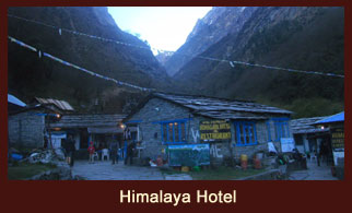 Himalayan Hotel, a small settlement in the Annapurna region of Nepal.