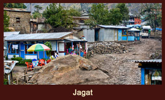 Jagat, a beautiful village in the Annapurna region of Nepal.