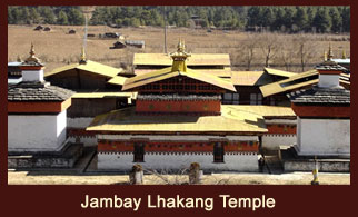 The Jambay Temple or Temple of Maitreya located at Bumthang in Bhutan is said to be one of the 108 temples built by Tibetan King Songtsan Gampo in 659 CE on a single day.