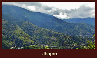 Jhapre, a village in the Everest region of Nepal, dotted with several monasteries and stupas.