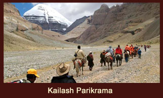 Pilgrims circumambulating Mt. Kailash in Tibet.