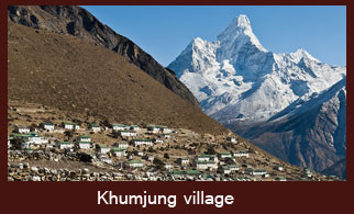Khumjung, a village located in the Everest region of Nepal is famous of its monastery that preserves yeti (legendary snowman) scalps.