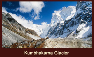 Khumbhakarna Glacier flown from east to west of Mt. Jannu (7710m) in the Kanchenjunga region of Nepal.