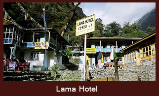 Lama Hotel, a popular trekkers' stop in the Langtang valley trek.