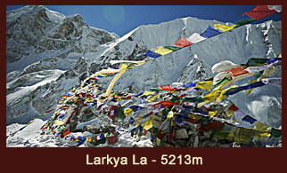Larkya La Pass (5,213m), one of the famed passes in the Annapurna region of Nepal that offers superb mountain vistas.
