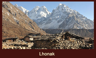 Lhonak, a tiny hamlet in the Kanchenjunga region of Nepal.