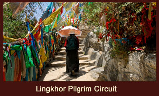 A glimpse of Lingkhor Pilgrimage Circuit in Lhasa, Tibet.