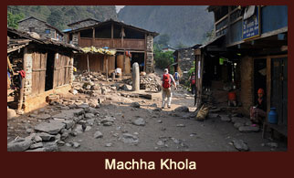 Machha Khola, a gurung settlement in the Annapurna region of Nepal.