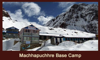 Machhapuchhre Base Camp, a famous trekking destination in the Annapurna region of Nepal, which lies at the base of Mt. Fishtail (Machhapuchhre).