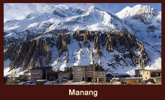 Manang, a popular village in the Annapurna region of Nepal dotted with well facilitated teahouses and good restaurants.