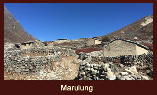 Marlung, a settlement in the Everest region of Nepal with scarce vegetation.