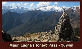Mauri Lagna (Honey Pass-3,820m), a mountain pass in the far western region of Nepal that offers wonderful mountainous vistas that include Bhalu Himal (5460m) to the south, Matatumba (5767m) and Gutumba (5608m).