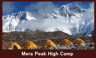 Mera Peak High Camp (5800m), in the Everest region of Nepal offers you the excellent views of Mt. Everest, Makalu, Cho-Oyu, south face of Lhotse, Nuptse, Chamlang and Baruntse.