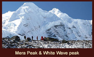 Exclusive view of Mera Peak and White Wave Peak from the campsite of Ramtang, in the Kanchenjunga region of Nepal.