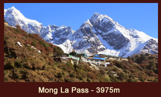 The Mong La Pass located in the Everest region of Nepal offers spectacular views of  Mt. Ama Dablam, Mt. Thamserku, Mt.Tawoche & Mt. Khumbila.
