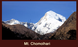 Mount Chomolhari (7326m) is the second highest peak in Bhutan lying on the northern border with Tibet.
