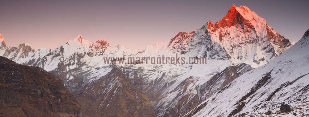 "A soothing view of the Annapurna range witnessed from ""the Annapurna Base Camp"" in the Annapurna region of Nepal."