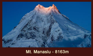 Mt. Manaslu (8163m), the 8th highest mountain in the world, located in the Manaslu region of Nepal.