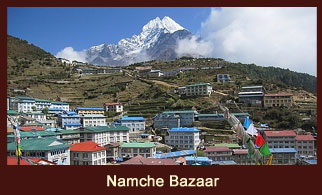 Namche Bazaar, an administrative hub of the Solukhumbu district in Nepal.