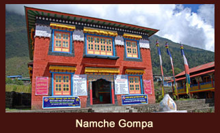 Namche Monastery located off the Thame trail. A small monastery in the Nyingma tradition of Tibetan Buddhism.